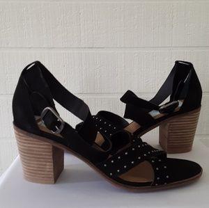 Shoes - Black Criss-cross Embellished Block Heel Sandals